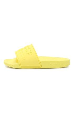 Детский резиновые шлепанцы GUCCI желтого цвета, арт. 553073/J8700 | Фото 2