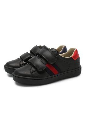 Детские кожаные кеды с застежками велькро GUCCI черного цвета, арт. 455448/CPWP0 | Фото 1