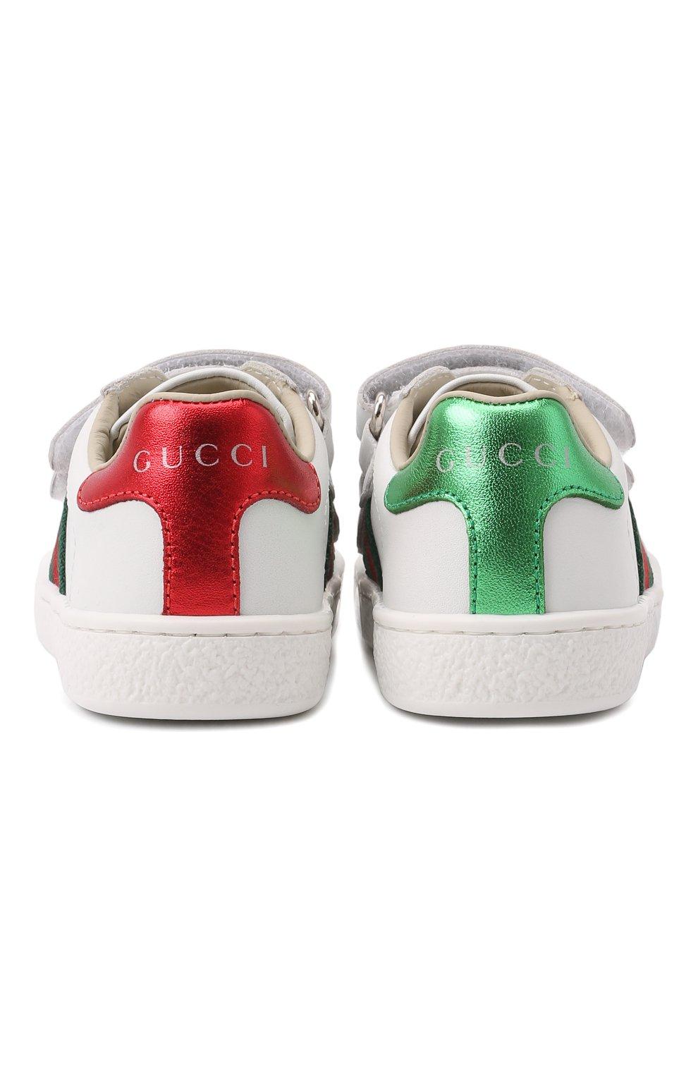Детские кожаные кеды GUCCI белого цвета, арт. 455447/CPWP0   Фото 5 (Материал внутренний: Натуральная кожа; Статус проверки: Проверено, Проверена категория)