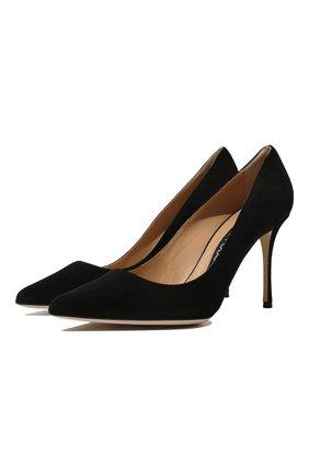 Женская замшевые туфли godiva SERGIO ROSSI черного цвета, арт. A43843-MCAZ01 | Фото 1