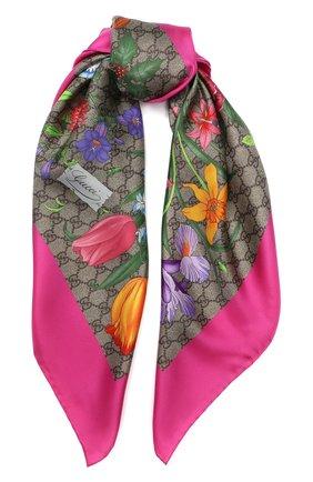 Шелковый платок с принтом Flora  | Фото №1