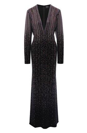 Женское платье с декоративной отделкой GIORGIO ARMANI черного цвета, арт. 3GAA87/AJXEZ | Фото 1 (Материал внешний: Синтетический материал; Статус проверки: Проверено; Рукава: Длинные)