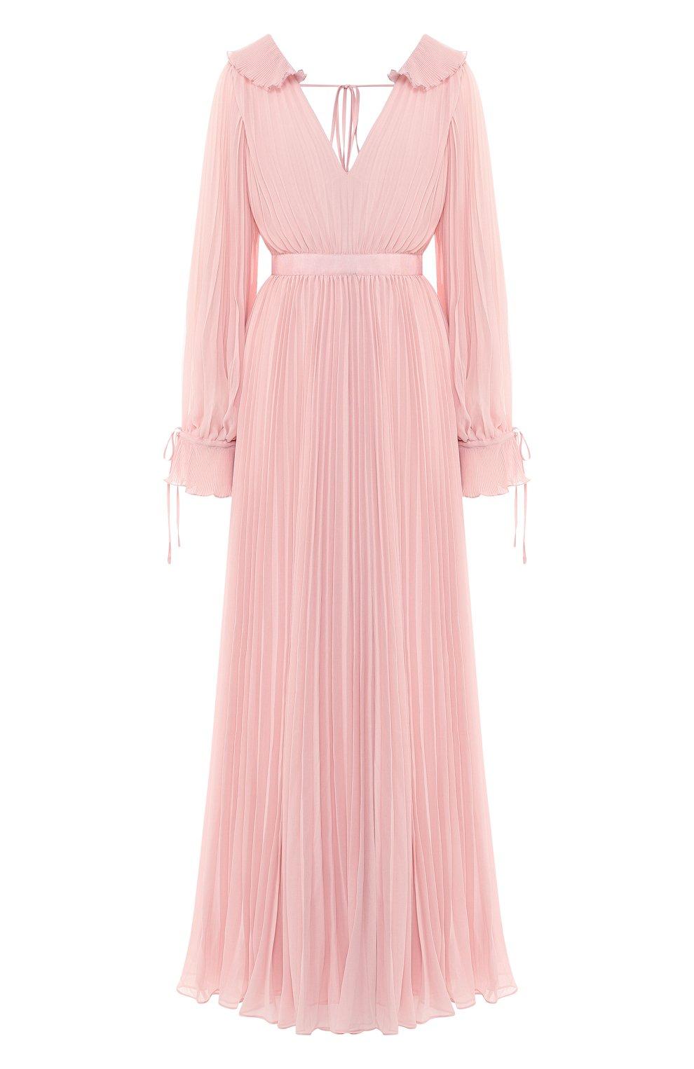 Женское плиссированное платье-макси SELF-PORTRAIT розового цвета, арт. SP20-042P | Фото 1
