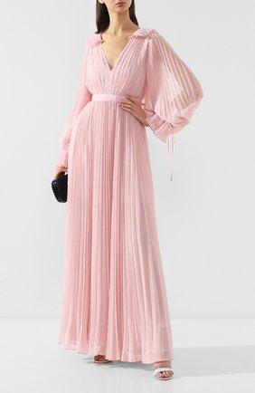 Женское плиссированное платье-макси SELF-PORTRAIT розового цвета, арт. SP20-042P | Фото 2
