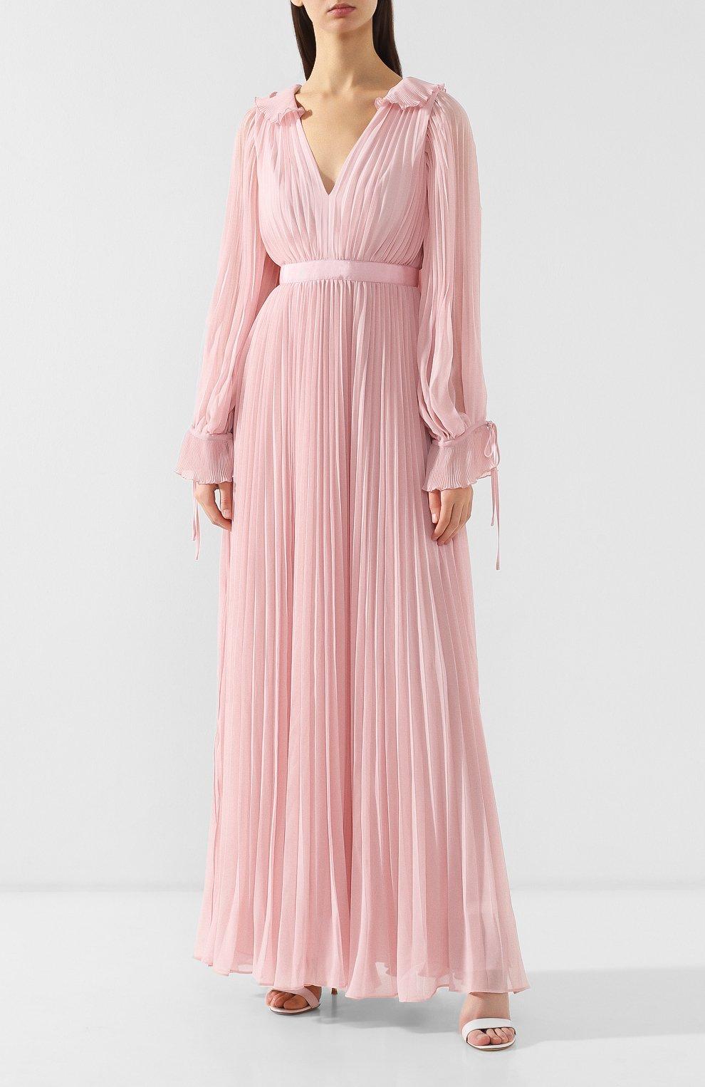 Женское плиссированное платье-макси SELF-PORTRAIT розового цвета, арт. SP20-042P | Фото 3