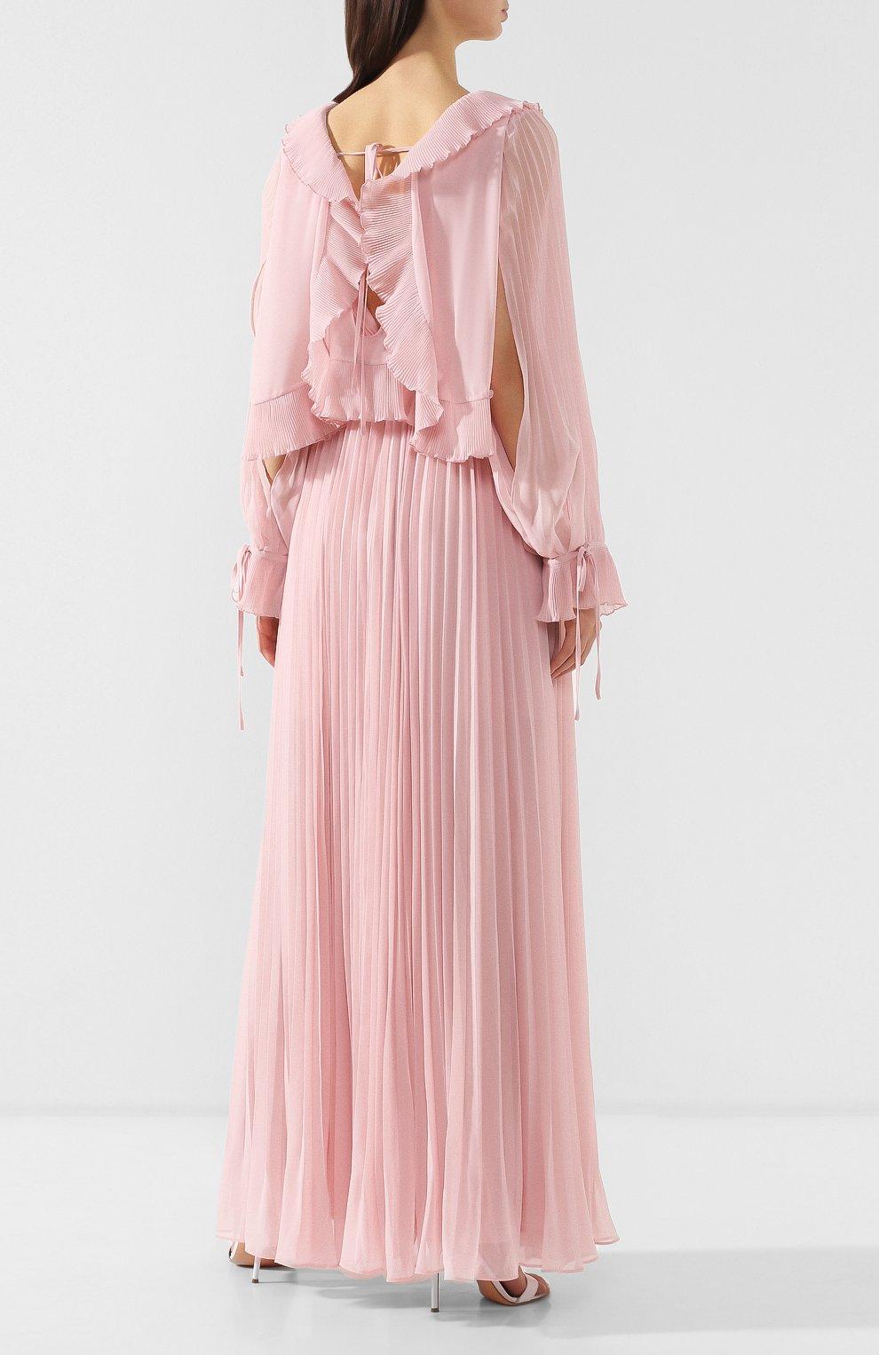 Женское плиссированное платье-макси SELF-PORTRAIT розового цвета, арт. SP20-042P | Фото 4