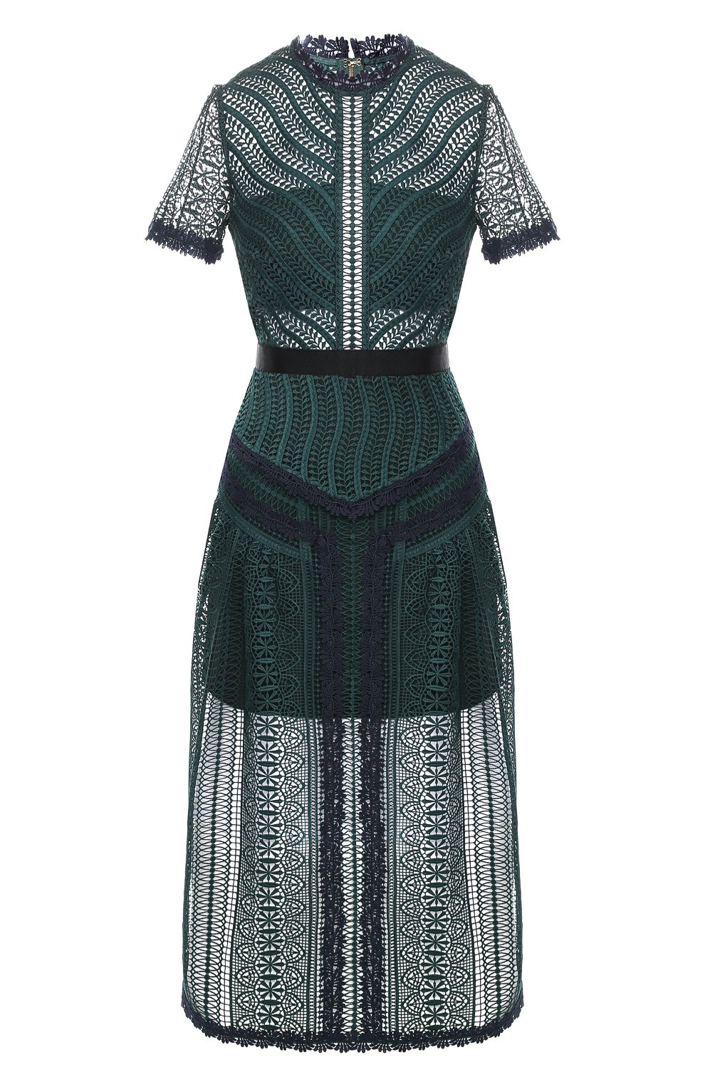 Женское кружевное платье-миди SELF-PORTRAIT темно-зеленого цвета, арт. SP20-071 | Фото 1