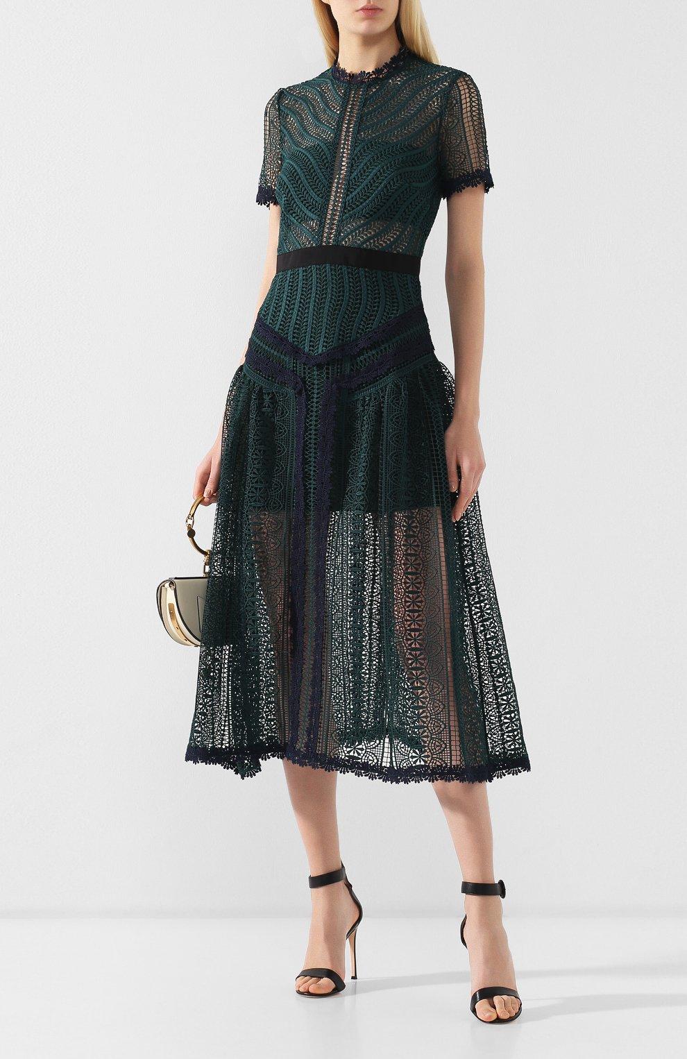 Женское кружевное платье-миди SELF-PORTRAIT темно-зеленого цвета, арт. SP20-071 | Фото 2