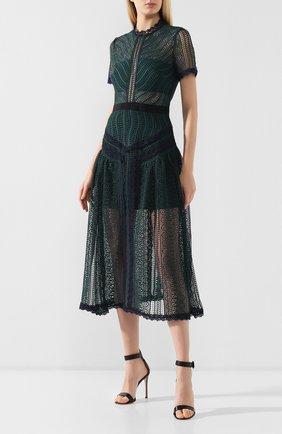 Женское кружевное платье-миди SELF-PORTRAIT темно-зеленого цвета, арт. SP20-071 | Фото 3