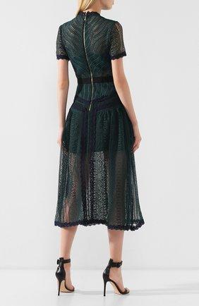 Женское кружевное платье-миди SELF-PORTRAIT темно-зеленого цвета, арт. SP20-071 | Фото 4