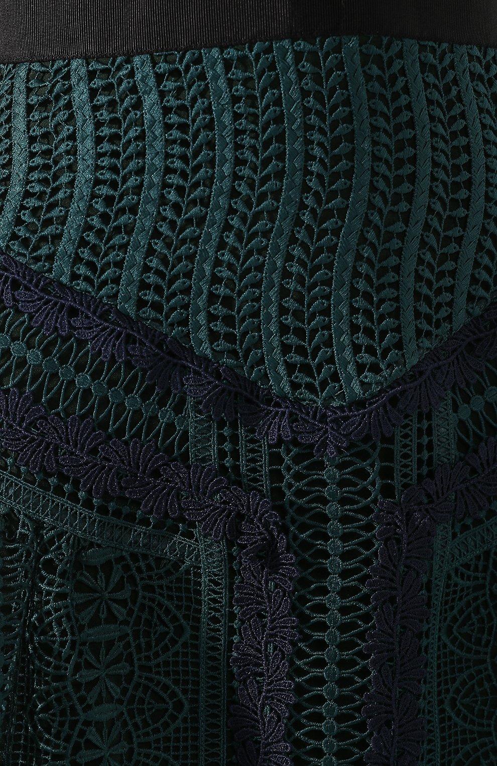 Женское кружевное платье-миди SELF-PORTRAIT темно-зеленого цвета, арт. SP20-071 | Фото 5