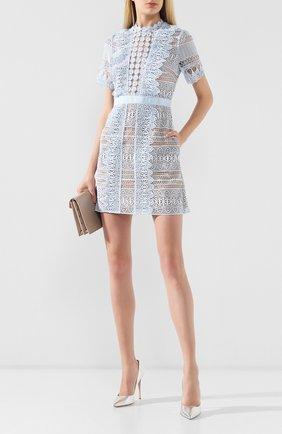 Женское кружевное платье SELF-PORTRAIT голубого цвета, арт. SP20-079   Фото 2