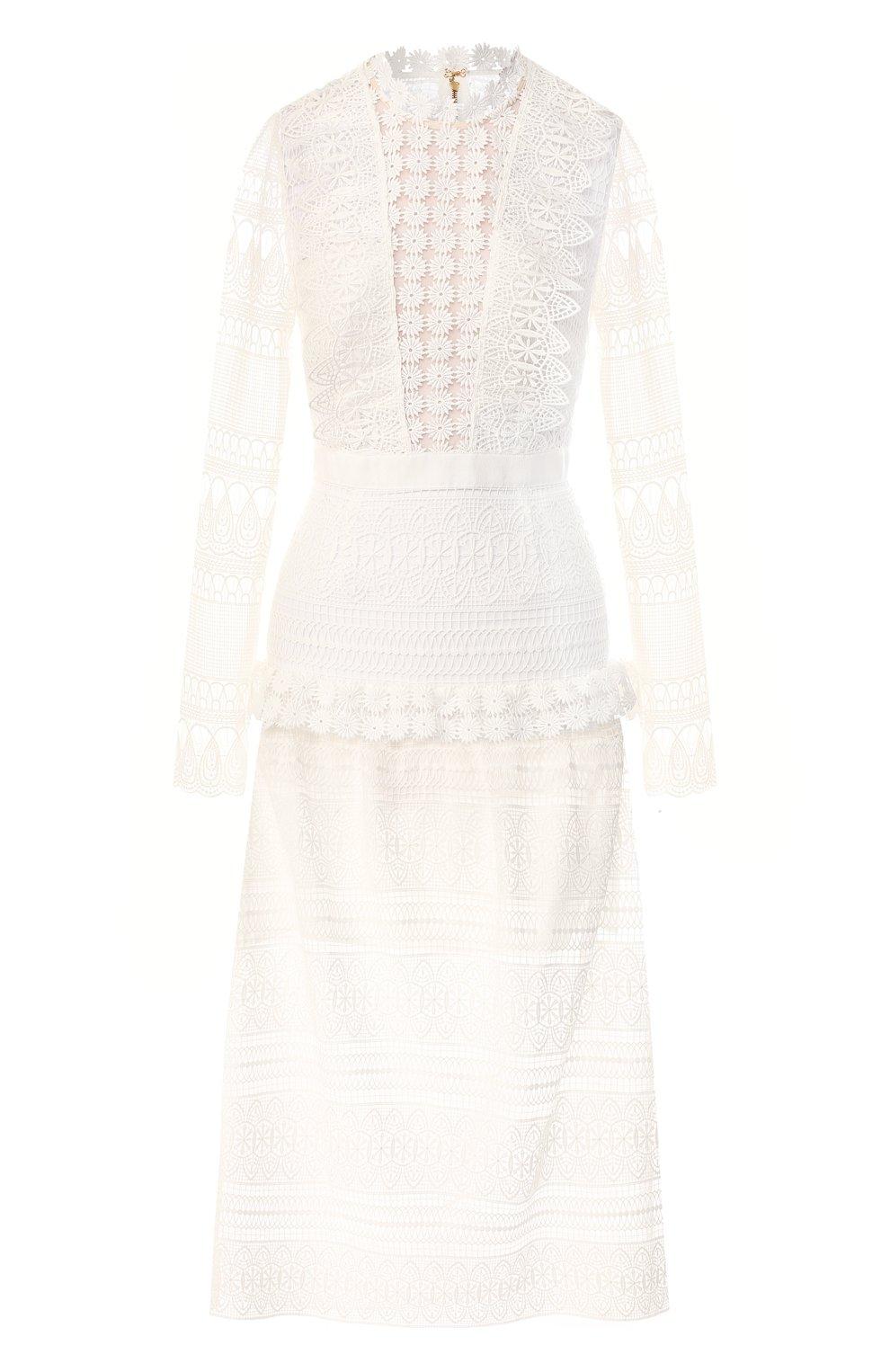 244a52ae123 Женское белое кружевное платье SELF-PORTRAIT — купить за 32600 руб ...