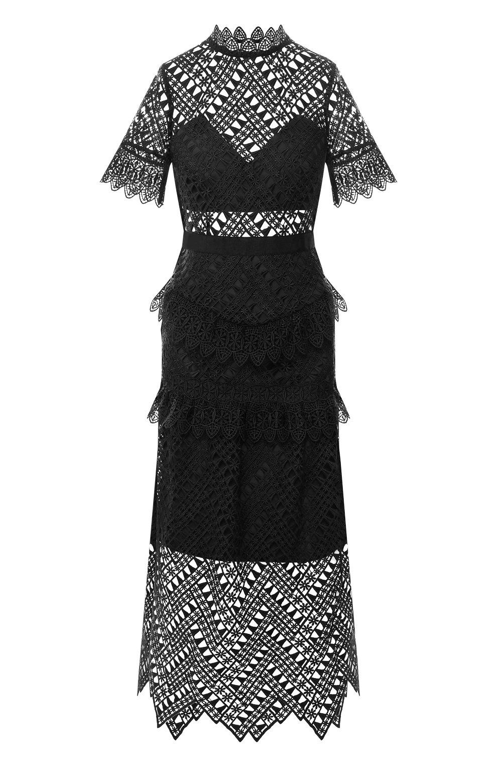 Женское кружевное платье-миди SELF-PORTRAIT черного цвета, арт. SP20-089 | Фото 1