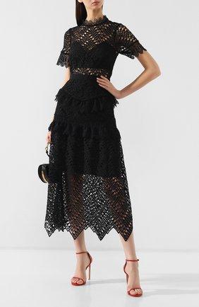 Женское кружевное платье-миди SELF-PORTRAIT черного цвета, арт. SP20-089 | Фото 2