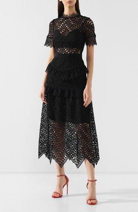 Женское кружевное платье-миди SELF-PORTRAIT черного цвета, арт. SP20-089 | Фото 3