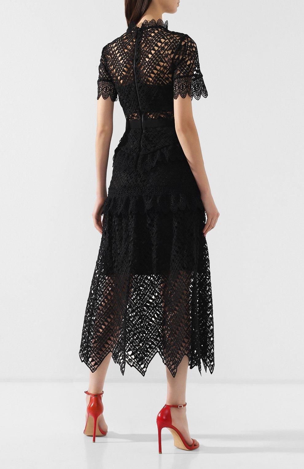 Женское кружевное платье-миди SELF-PORTRAIT черного цвета, арт. SP20-089 | Фото 4