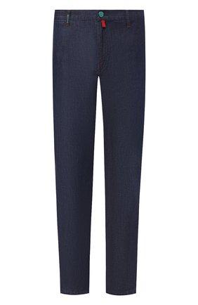 Мужские джинсы прямого кроя KITON темно-синего цвета, арт. UFPP79/J07R56 | Фото 1