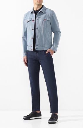Мужские джинсы прямого кроя KITON темно-синего цвета, арт. UFPP79/J07R56 | Фото 2