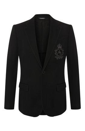 Мужской пиджак из вискозы DOLCE & GABBANA черного цвета, арт. G2MR5Z/FUGI2   Фото 1