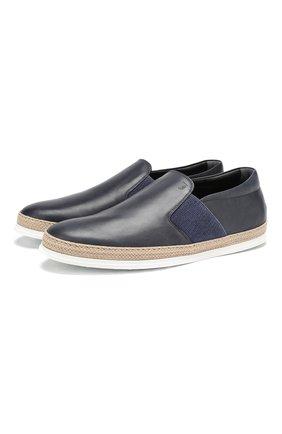 Мужские кожаные слипоны TOD'S темно-синего цвета, арт. XXM0TV0V530D9C | Фото 1