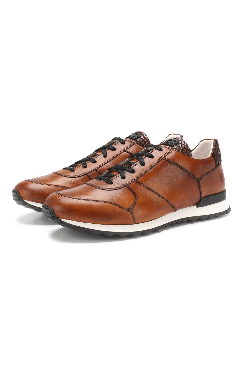 Мужские кожаные кроссовки с отделкой из кожи крокодила KITON светло-коричневого цвета, арт. USSB0RIN00038   Фото 1