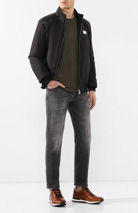 Мужские кожаные кроссовки с отделкой из кожи крокодила KITON светло-коричневого цвета, арт. USSB0RIN00038 | Фото 2