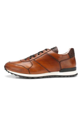 Мужские кожаные кроссовки с отделкой из кожи крокодила KITON светло-коричневого цвета, арт. USSB0RIN00038   Фото 3