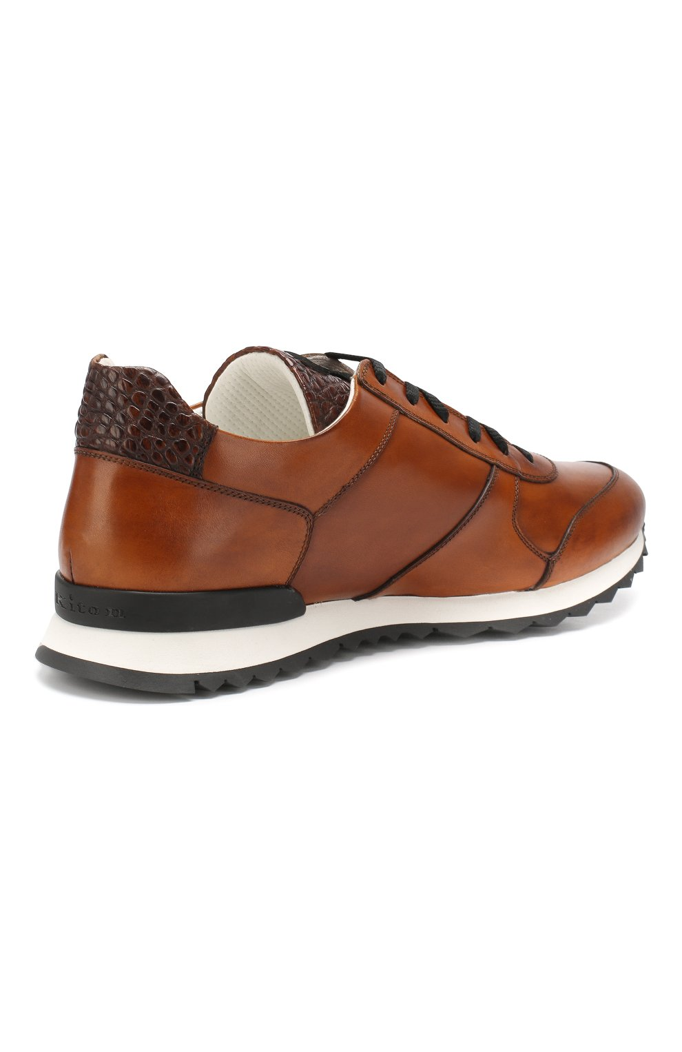 Мужские кожаные кроссовки с отделкой из кожи крокодила KITON светло-коричневого цвета, арт. USSB0RIN00038   Фото 4