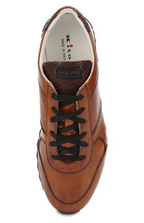 Мужские кожаные кроссовки с отделкой из кожи крокодила KITON светло-коричневого цвета, арт. USSB0RIN00038   Фото 5