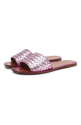Шлепанцы с плетением intrecciato из металлизированной кожи Bottega Veneta светло-розовые | Фото №1
