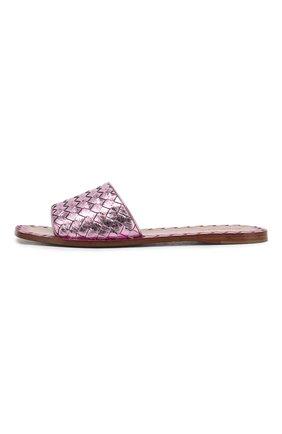 Шлепанцы с плетением intrecciato из металлизированной кожи Bottega Veneta светло-розовые | Фото №3
