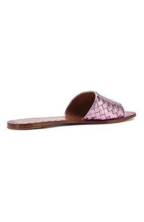 Шлепанцы с плетением intrecciato из металлизированной кожи Bottega Veneta светло-розовые | Фото №4