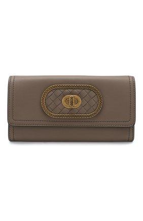 Кожаный кошелек Bottega Veneta хаки цвета | Фото №1