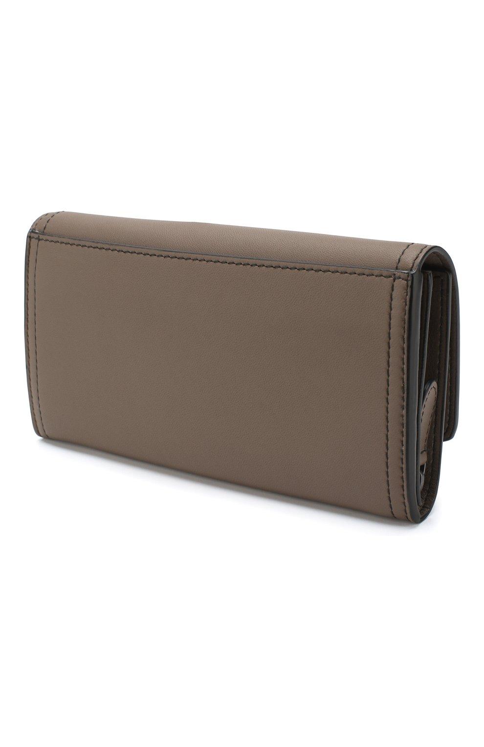 Кожаный кошелек Bottega Veneta хаки цвета | Фото №2