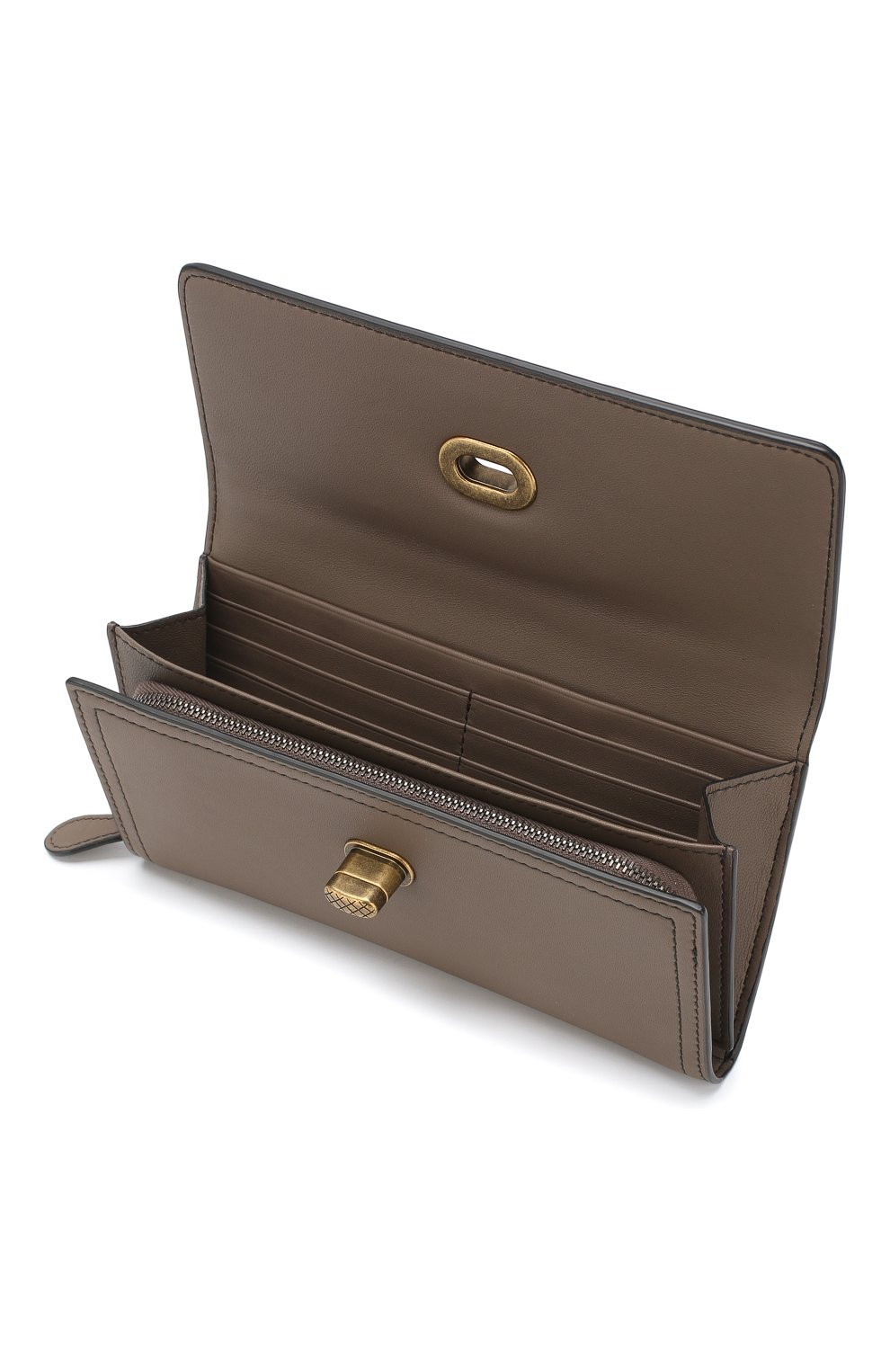 Кожаный кошелек Bottega Veneta хаки цвета | Фото №3