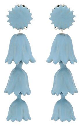 Серьги-клипсы с подвесками Oscar de la Renta голубые | Фото №1