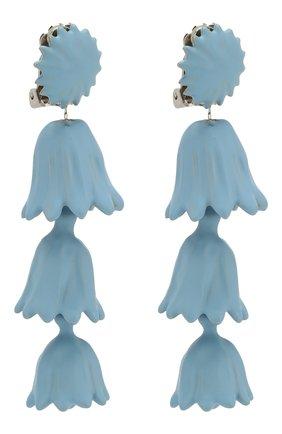 Серьги-клипсы с подвесками Oscar de la Renta голубые | Фото №3