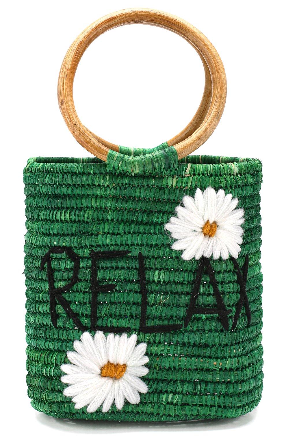 Женская сумка из рафии MANA SAINT TROPEZ зеленого цвета, арт. GREEN S0 BAG   Фото 1 (Материал: Растительное волокно; Размер: mini; Статус проверки: Проверена категория)