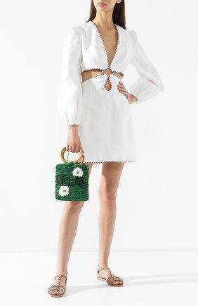 Женская сумка из рафии MANA SAINT TROPEZ зеленого цвета, арт. GREEN S0 BAG   Фото 2 (Материал: Растительное волокно; Размер: mini; Статус проверки: Проверена категория)