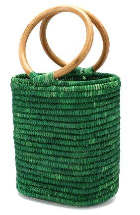 Женская сумка из рафии MANA SAINT TROPEZ зеленого цвета, арт. GREEN S0 BAG   Фото 3 (Материал: Растительное волокно; Размер: mini; Статус проверки: Проверена категория)