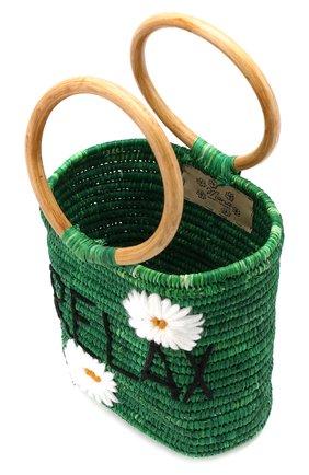 Женская сумка из рафии MANA SAINT TROPEZ зеленого цвета, арт. GREEN S0 BAG   Фото 4 (Материал: Растительное волокно; Размер: mini; Статус проверки: Проверена категория)