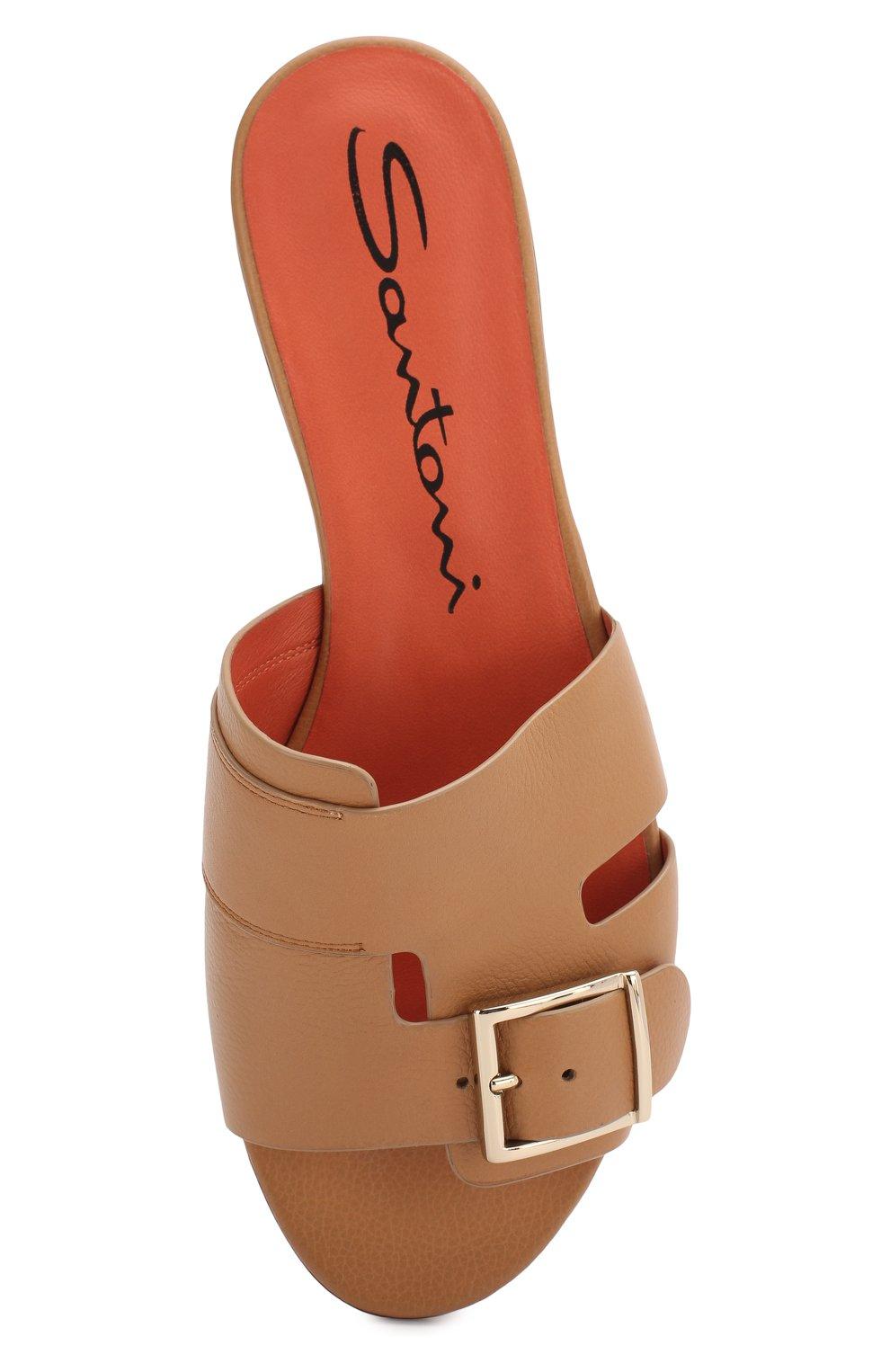 Женские кожаные шлепанцы SANTONI бежевого цвета, арт. WHBF57658HI1RGLYC32 | Фото 5