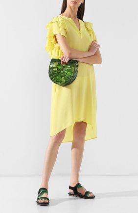 Женская сумка ark mini CULT GAIA зеленого цвета, арт. 20002AC GRN   Фото 2 (Статус проверки: Проверена категория; Размер: mini; Материал: Текстиль; Сумки-технические: Сумки top-handle)