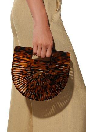 Женская сумка ark mini CULT GAIA темно-коричневого цвета, арт. 20002AC TRT   Фото 2 (Материал: Текстиль; Сумки-технические: Сумки top-handle; Статус проверки: Проверена категория; Размер: mini)