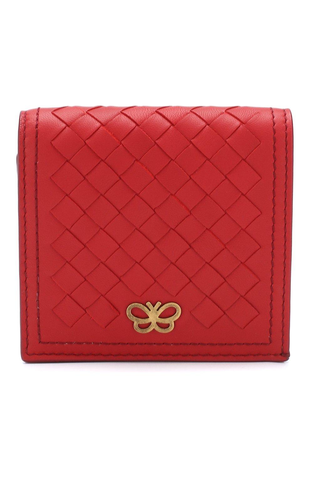 Кожаное портмоне Bottega Veneta красного цвета | Фото №1