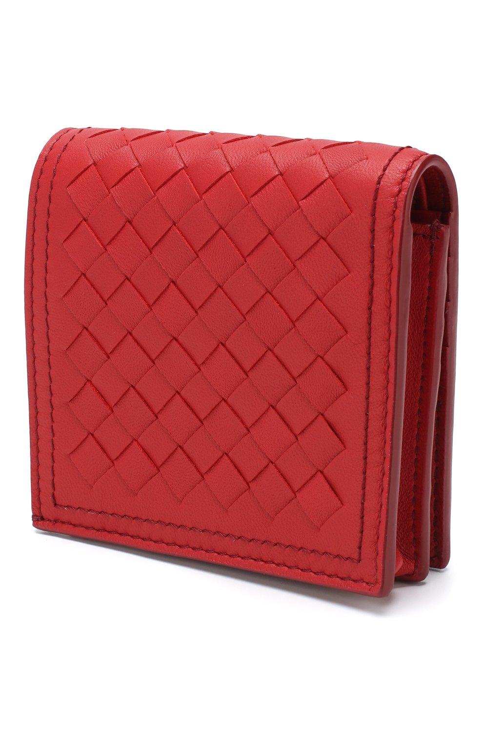 Кожаное портмоне Bottega Veneta красного цвета | Фото №2