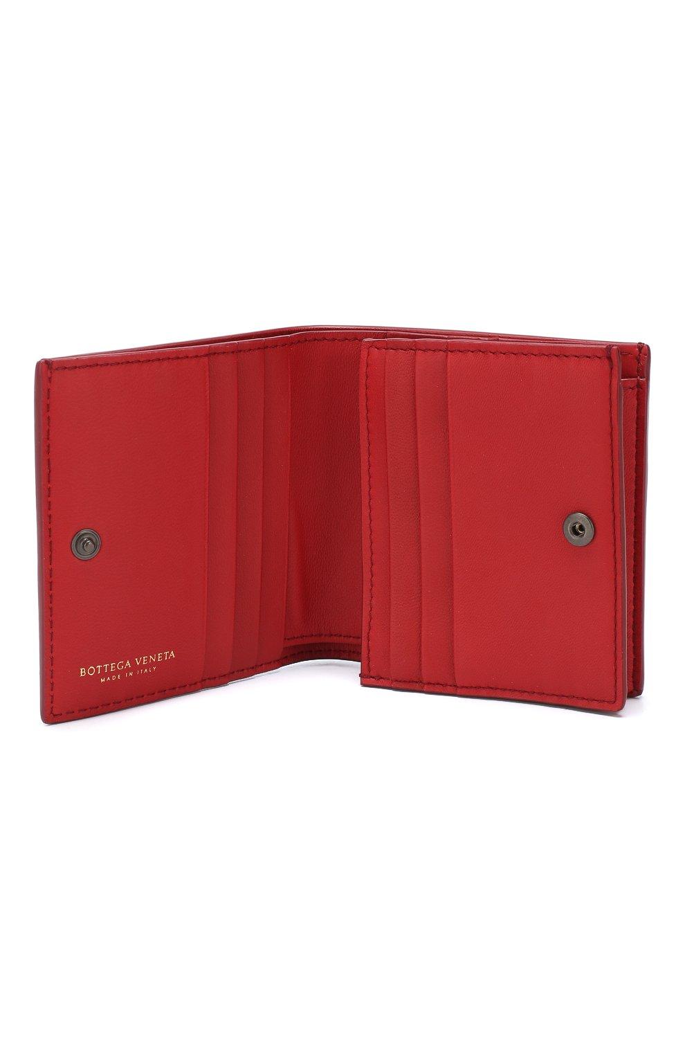 Кожаное портмоне Bottega Veneta красного цвета | Фото №3