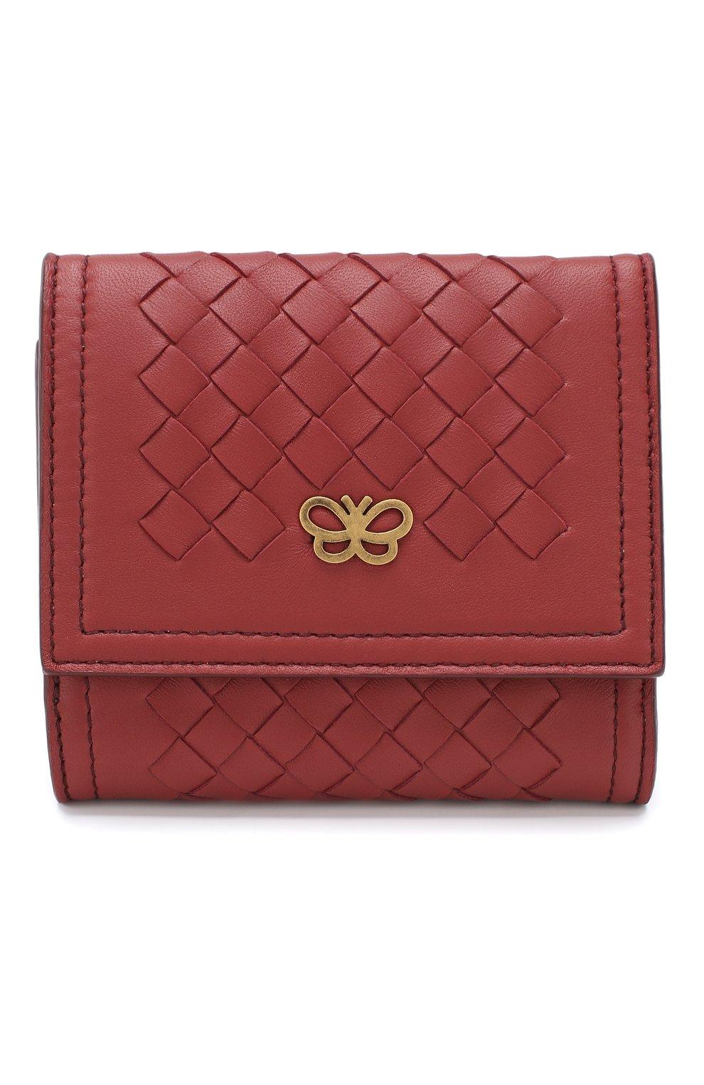 Кожаное портмоне Bottega Veneta бордового цвета | Фото №1