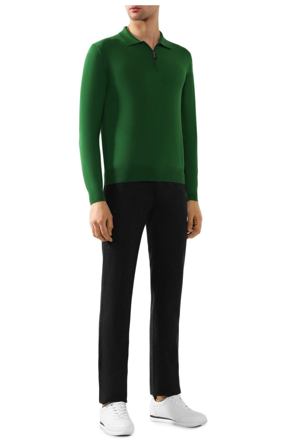 Мужское шерстяное поло BRIONI зеленого цвета, арт. UMS10L/0ZK18 | Фото 2